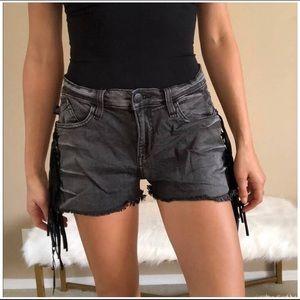 Rock & Republic Lolita Fringed Denim Shorts